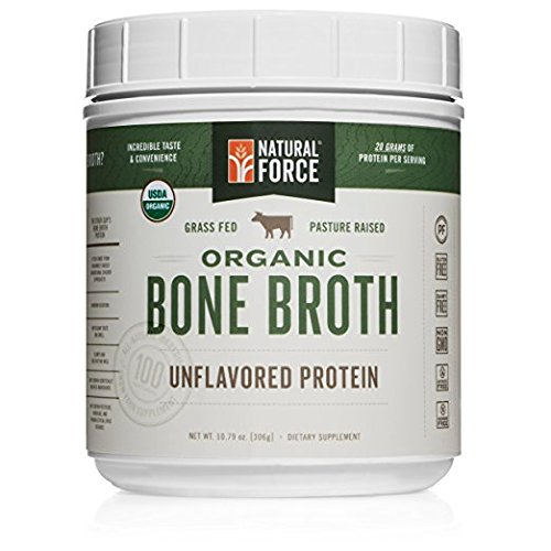 New! Organic Bone Broth Protein Powder, Pure Unflavored - Made from High Quality Grass-Fed Beef Bone Broth *No Fillers or Chicken, Rich in Ancient Collagen* by Natural Force, 10.79 Ounce