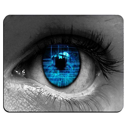 Blue Eye Pattern Background Custom Rectangular Mouse Pad Oblong Gaming Mousepad -