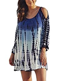 MiYang Women's Plus Size V-neck Gradient Lace Beach Dress
