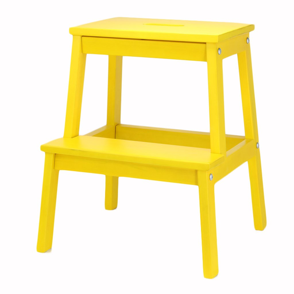 Step Stool Solid Wood 2 Layer Multifunction Storage Stool Shoe Bench Children Climbing Ladder Flower Stand Foot Stool Northern Europe For Indoor Kitchen Use Furniture (Color : Yellow) by Sevts (Image #1)