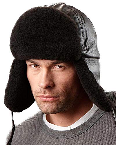 frr Black Mouton Sheepskin Trapper Hat - M ()