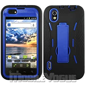 LG Marquee/Ignite/LS855 Black/Navy Blue Combo Silicone Case + Hard Cover + Kickstand Hybrid Case BoostMobile/Sprint