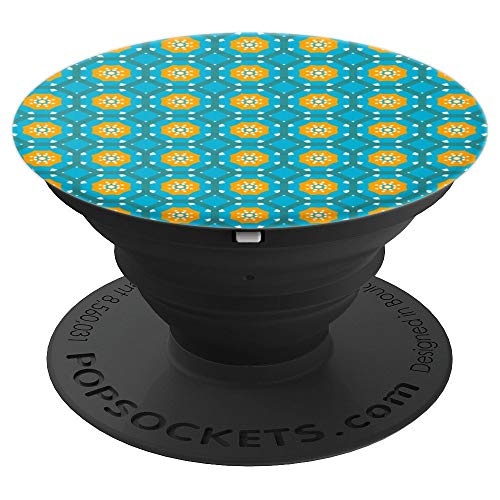 All Over Seamless Repeat Pattern 50 Blue Orange Tile Octagon - PopSockets Grip and Stand for Phones and Tablets