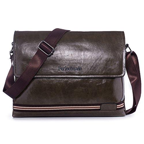 Price comparison product image Cross Body Messenger Bag, Men's Retro Leather Shoulder Purse Business Work Bag Sling Bag Travel Bag Pack for iPad Air 2,Galaxy Tab S3,Zenpad 3s 10