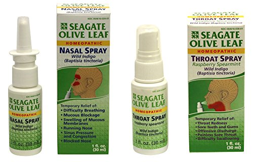 Seagate Products, Olive Leaf Nasal and Raspberry Spearmint Throat Spray Combo Pack (2Pack), Seagate - Olive Products