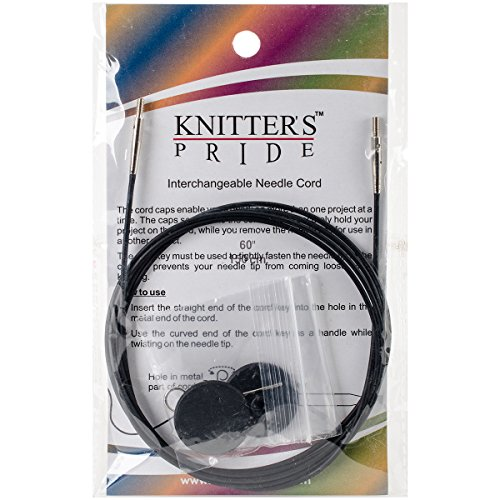 Knitter's Pride- Interchangeable, Black silver cord 49'' (125 cm to make 150 cm/ 60'' IC needle) (Code# - Flat Circular Black And