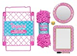 School Locker Organizer Kit - Accessories and Decoration Set with Mirror, Message Board, Rug and Shelf (Pink/Gold)
