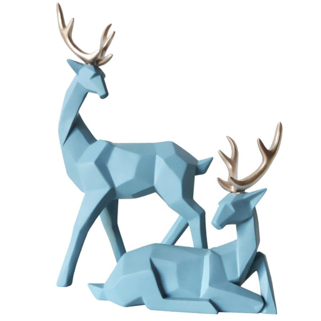IPOTCH Adorno de Pareja de Renos, Material de Resina de Alta Calidad, Arte Doméstico - Azul Claro