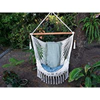 Hammock swing chair handmade with macrame edge handmade cotton beige/Indoor Outdoor Chair Hammock/Hanging Chair Swing.