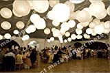 Perfectmaze 24 Piece White Round Chinese Paper Lantern with Led Mixed Size (6''8''10''12''14''16'') for Wedding Party Engagement Decoration