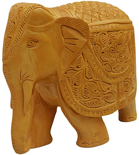 (Crafkart Elephant Decor Statue - Hand Carved Wooden Collectible Figurine Sculpture Figure - Table Centrepieces and Home Decoration for Living Room Office Decor Statue )