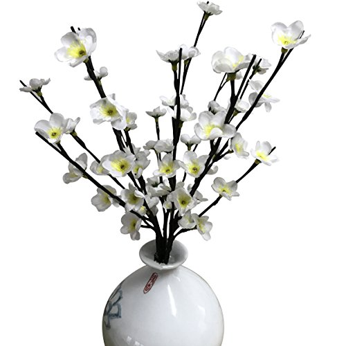 Branch Plum Flower (Lighted Flowers Fake Silk Plum Blossom Branches BABALI 20 Inches Tall Battery and Electric/Corded Dual Power Operated Warm White 60 Led Decoration Floral Artificial Branch Crafts with Timer)