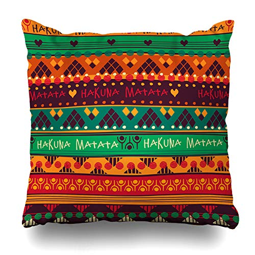 (Ahawoso Throw Pillow Cover Vintage Pattern Tribal Jackets Envelopes Pads Furniture Abstract Kenyan Hakuna Matata Moroccan Zippered Pillowcase Square Size 16 x 16 Inches Home Decor Cushion Case)