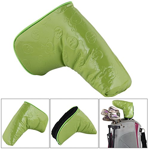 Green Skull PU Leather Putter Cover Headcover For Titleist Ping Blade Taylormade