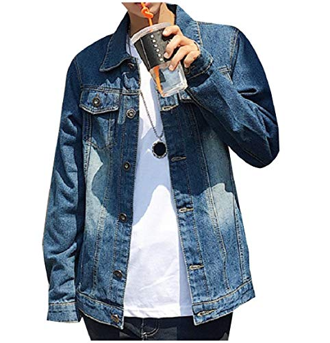 Pockets Down Chest Denim Collar Turn Mogogo Washed Mens Jacket Blue Button XwTqqxa