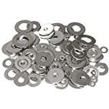 Wideskall Zinc Plated Steel Flat Washers Set Assortment Kit 3 Size 1/2' 5/8' 11/16' - Pack of 80