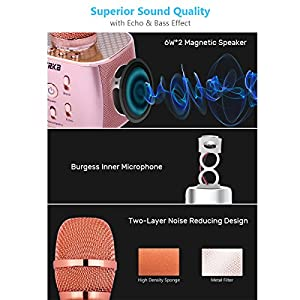 VERKB 2018 Wireless Karaoke Microphone Q5 Plus, Easter Gift Idea for Kids, 2600mAh 6W+6W Speakers Dynamic Portable Bluetooth Karaoke Machine for iPhone Android Smartphone Home Party(Rose Gold Plus)