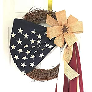 American flag Wreath, Patriotic Decor Flag Front Door Wreath, Military decor, Gift for a soldier 33