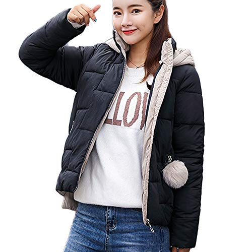 Boston College Scoreboard - Realdo Womens Jacket Coat Casual Hooded Solid Outerwear with Plush Ball(Most Wished &Gift Ideas)(Large,Black)
