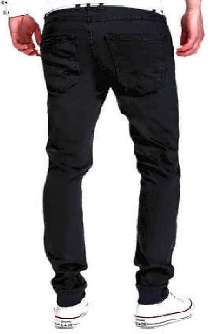 ouxiuli Men/'s Fashion Straight Plus Size Biker Jeans Denim Pants