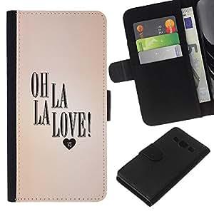 A-type (La Love Heart Peach Text Valentines) Colorida Impresión Funda Cuero Monedero Caja Bolsa Cubierta Caja Piel Card Slots Para Samsung Galaxy A3