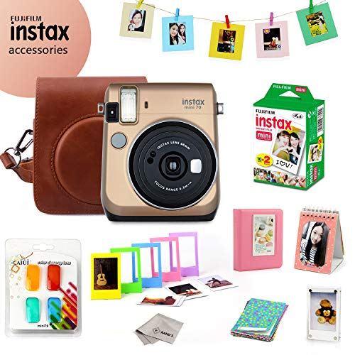 Fujifilm Instax Mini 70 Bundle (Gold) – Fuji Camera Instant Film (20 Sheets) + 9-in-1 Accessory Bundle – Carry Case, 4 Color Filters, 2 Photo Albums, Assorted Frames & Much More