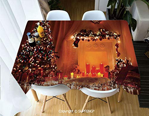 Rectangular tablecloth Romantic Xmas Room with Candles Lights Presents Toys Fairy Festive Magic Picture (60 X 84 inch) Great for Buffet Table, Parties, Holiday Dinner, Wedding & More.Desktop decorati