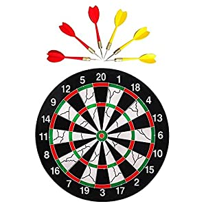 Farraige-Double-Faced-Flock-Printing-Thickening-Family-Game-Dart-Board-with-Free-6-Needle-17-inch-Black