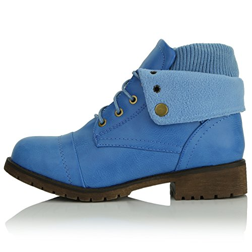 Up Wallet PU with for Women's Ankle Pocket Combat Boots Money DailyShoes Bootie Credit Pocket Style Card Top Sweater Knife Blue t4xfgnZqw