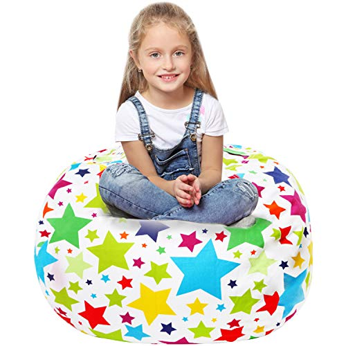 Stuffed Animal Storage Bean Bag - Cover Only - Large Beanbag Chairs for Kids - 90+ Plush Toys Holder and Organizer for Boys and Girls - 100% Cotton Canvas - Holiday Stars
