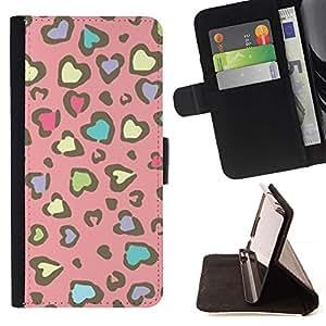 Momo Phone Case / Flip Funda de Cuero Case Cover - Modelo de la piel del guepardo del rosa amarillo - Huawei Ascend P8 (Not for P8 Lite)
