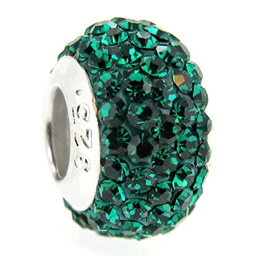 Sterling Silver Simulated May Birthstone Round Green Crystal European Style Bead Charm ()