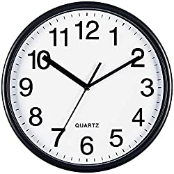 Bernhard Products Large Wall Clock 13 Inch Silent Non-Ticking, Quartz Battery Operated for Home/Office/Classroom Round Clocks with Sweep Movement, Easy to Read