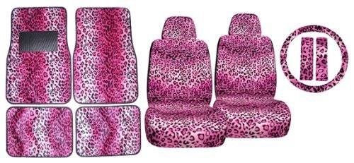 11pc Pink Leopard Safari Low Back Seat Covers Steering Wheel Cover Shoulder Pads and Carpet Floor ()