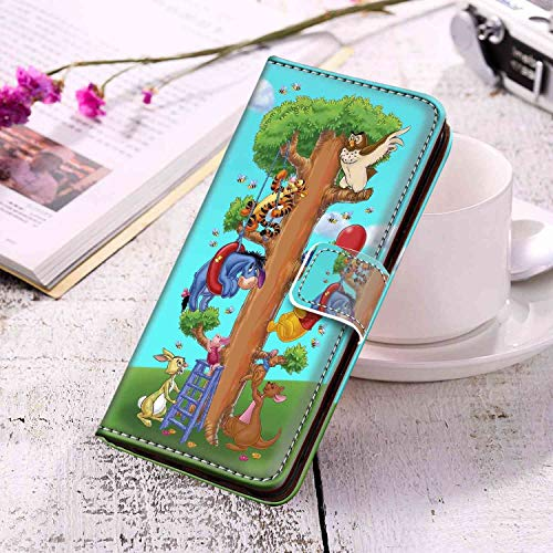 DISNEY COLLECTION Wallet Case Fit for Samsung Galaxy S10 (2019) [6.1in] Winnie The Pooh Disney Tigger Rabbit Roo Kanga Eeyore Owl Piglet Hundred Acre Gang Protect