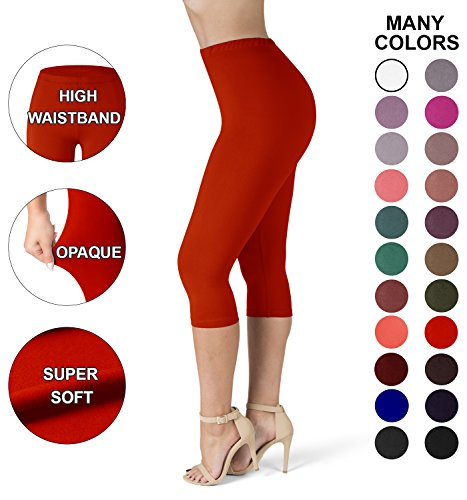 SATINA High Waisted Ultra Soft Capris Leggings - 20 Colors - Reg & Plus Size (Plus Size, Red) (Womens Plus Color)