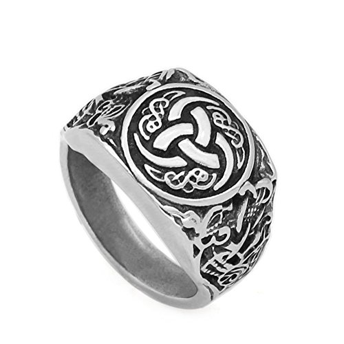 Stainless Steel Jewelry Viking Celtic Knot and Wolf Head JEWURA Biker Ring