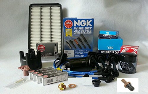 Toyota Corolla 1.6 1.8L Cap-Rotor-NGK Wires-Platinum Spark Plug-PCV-Filter (Rotor O-ring)