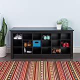 Black Shoe Storage Cubbie Bench