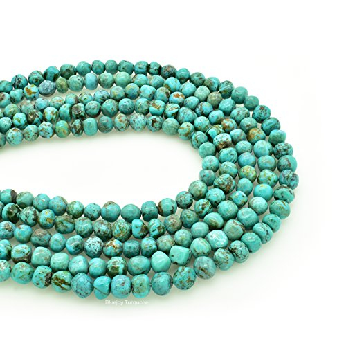 Bluejoy Genuine Natural American Turquoise Free-Form Round Nugget Bead 16 inch Strand for Jewelry Making (6mm)