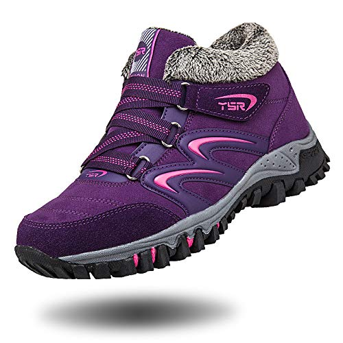 Middle Warm Velvet Walking Shoes Aged Shoes Sports Shoes Outdoor Slip Non Bottom Soft purple Shoes sho Female Cotton Shoes Plus Winter Old Mother casual qw4OSE7ZW