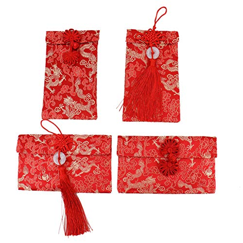 JETEHO 4 Pcs Chinese Element Embroidery Silk Red Envelopes, HongBao Card Envelopes Gift Wrap Bags Red Lucky Money Pockets for New Year, Spring Festival, Birthday and Wedding