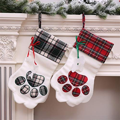YJBear Personalized Embroidered Plaid Puppy Dog Paw Christmas Stocking for Pet Dog Storage Bag Christmas Party Mantel Decorations Red Green(2 PCS)]()