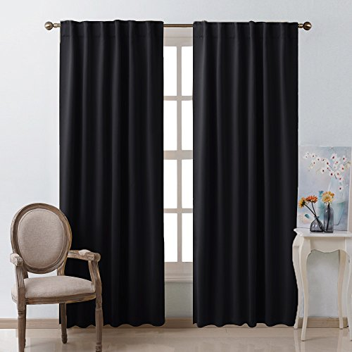 Blackout Curtains Window Panel Drapes - (Black Color) W52