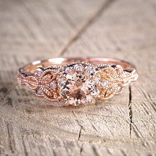 - 1.50 Carat Antique Design Round cut Morganite and Diamond Engagement Ring for Women In Rose Gold