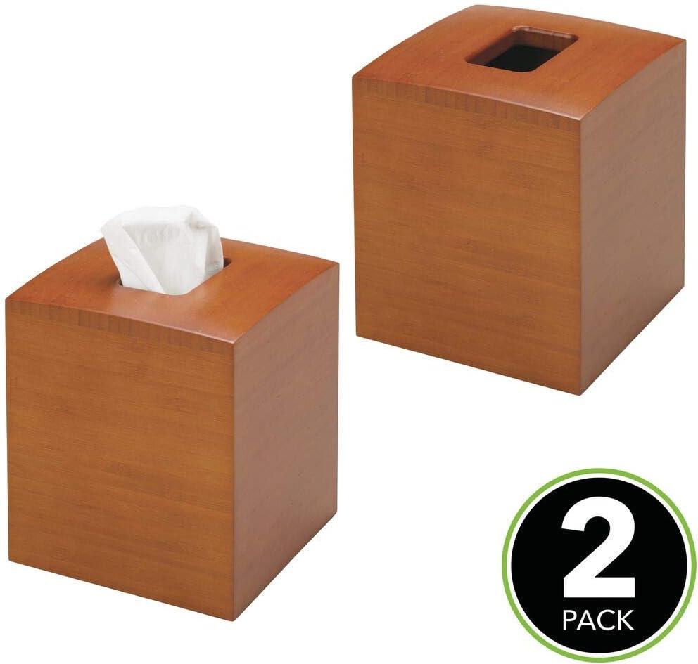Tissuebox in modernem /& elegantem Design mDesign 2er-Set quadratische Kosmetikt/ücherbox aus Bambus praktische Papiertuchbox f/ür Hygienepapier im Badezimmer espresso