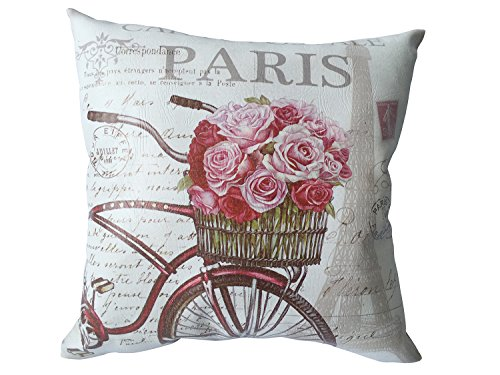 L1 LIVING L1 Home Decorative Throw Pillow Cushion with Pillowcase Cover Square Bicycle Flower Printed 18 x18
