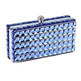 Women Evening Clutch Purse Bag Rhinestone Crystal Glass Crossbody Shoulder Handbag (Blue)
