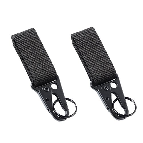 Nylon Velcro Tactical Gear Clip Web Standard Key Ring Holder Tactical Key Chain Quick Release Key Ring Compatible for Molle Bags (Black)
