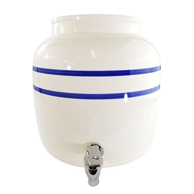 Porcelain Water Dispenser Blue Stripe with Wooden Stand